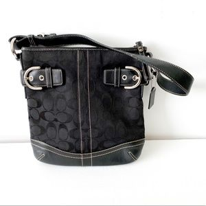 Coach black signature print and leather bag